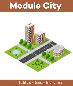 シティ四半期の高所風景の等尺性3d投影