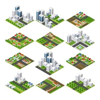 都市設定四角形の上面図の風景等角投影3d投影