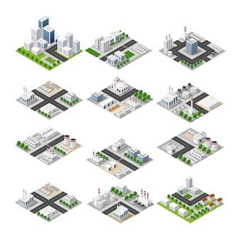 市の電話のコンセプトビジネスのアイデア。 3dアイソメ超高層ビル
