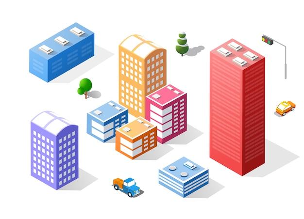 Красочный 3d изометрический город