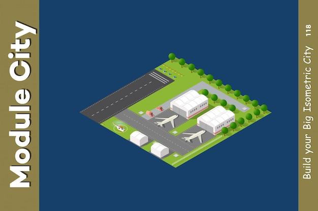 Изометрические город 3d аэропорт