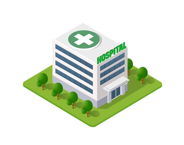 Больница изометрическая 3d здание