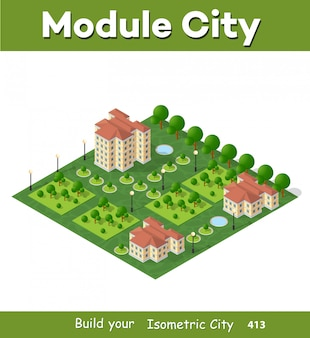 Современный 3d город изометрии