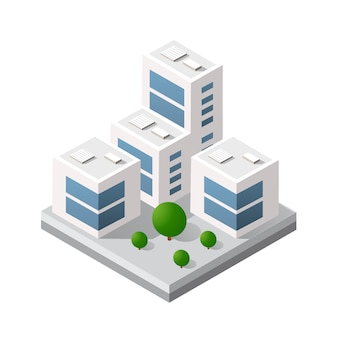Изометрическая 3d модуль здания