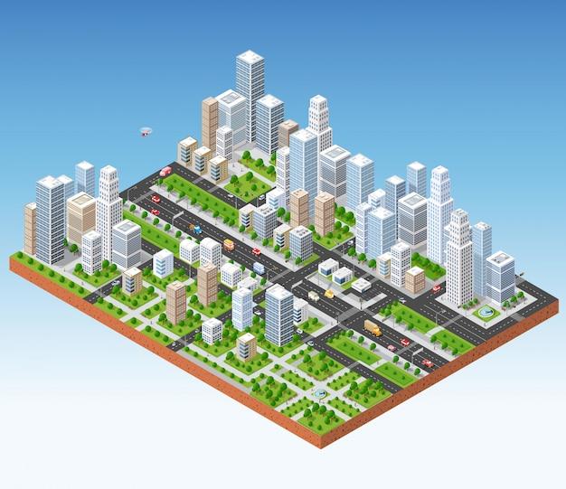 メガポリスの3d等角三次元都市