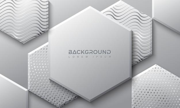 3dスタイルの六角形の灰色の背景。
