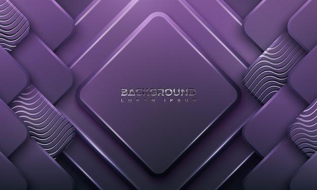 濃い紫色の背景に3dスタイルと波線。