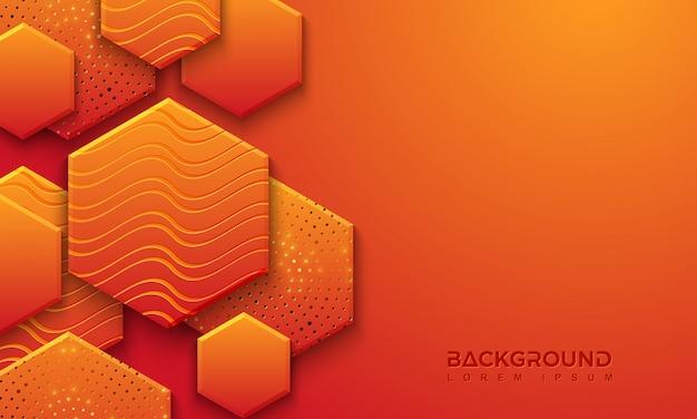 3dスタイルの織り目加工のオレンジ色の背景デザイン