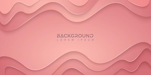 Розовый фон с волнистыми формами в стиле 3d.