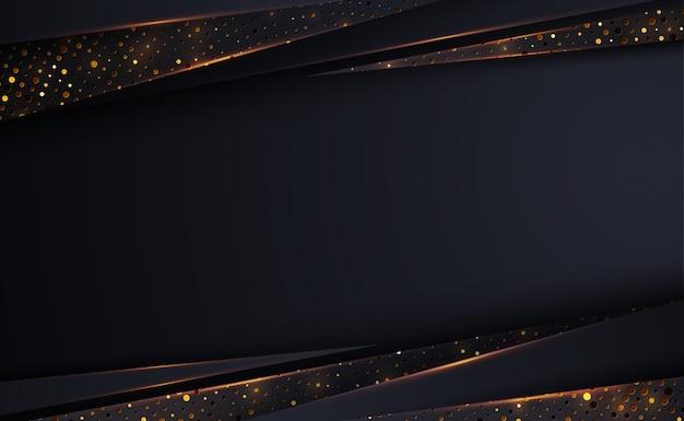 Роскошный черный фон с сочетанием светящихся золотых точек в стиле 3d.