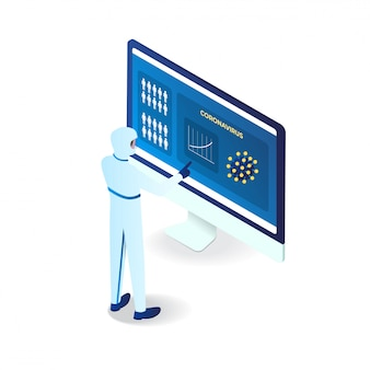 Вирус короны, идентифицированный врачом в компьютере 3d изометрические иллюстрация