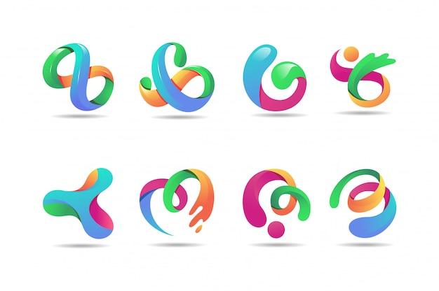 抽象的なカラフルなロゴ、3dモダンアイコンのコンセ