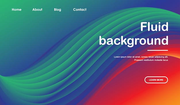 Веб-шаблон целевой страницы с 3d дизайном жидкой волны