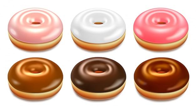 現実的なドーナツのセット。ファーストフードのための艶をかけられた菓子。白い背景で隔離の3d