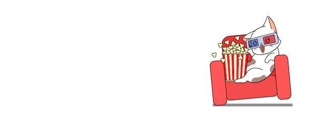 Очаровательная кошка в 3d очках с попкорном для фильма