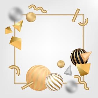 Золотая рамка с 3d формами