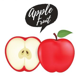 Красное яблоко фруктовый ломтик реалистичные 3d иллюстрации