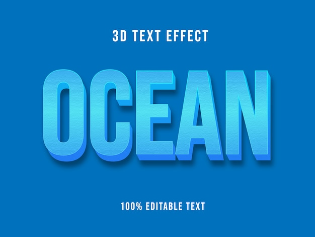 Редактируемый 3d синий текстовый эффект макет