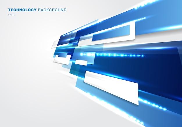 Абстрактные 3d синие прямоугольники технологии цифровой белый фон