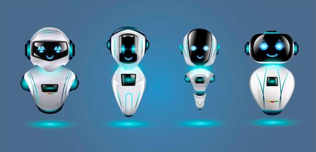 Набор милых 3d роботов.