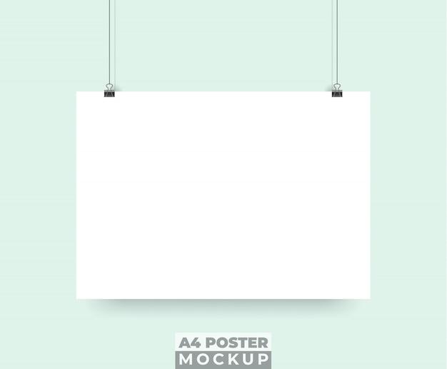リアルな3dポスターモックアップをぶら下げ