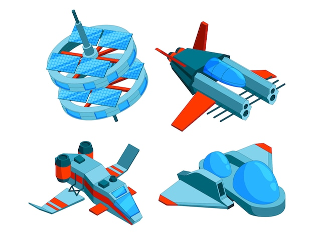 Космические корабли изометрии. технология строительства различных типов кораблей грузовой военный бомбардировщик и воздушные 3d низкополигональные космические корабли изолированы