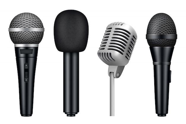 Микрофоны 3d, музыкальная студия разное микрофон оборудование реалистично в винтажном стиле микрофоны изолированы