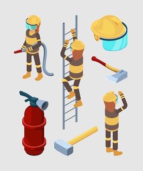Пожарные изометрии. профессиональное оборудование пожарной станции шланг сапоги огнетушитель автомобиль 3d иллюстрации изолированы