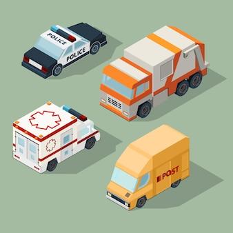 Городские автомобили изометрии. мусоровоз почта фургон полиция и скорая помощь городской трафик 3d иллюстрации