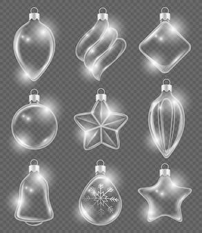 クリスマスの現実的なボール。新年のガラスのおもちゃの休日の透明な装飾リボン飾り3d写真