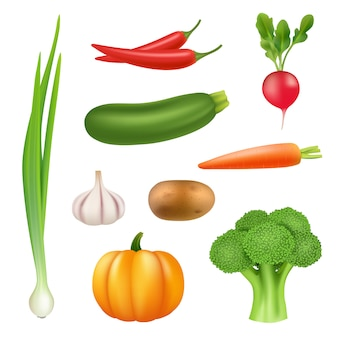 Овощи реалистичные картинки. здоровые свежие продукты тыквы брокколи огурец перец морковь 3d иллюстрации
