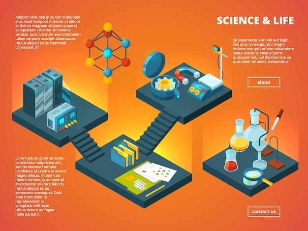 Изометрическая научная лаборатория. биология фармацевтическая или химическая лаборатория интерьер 3d концепт картинки