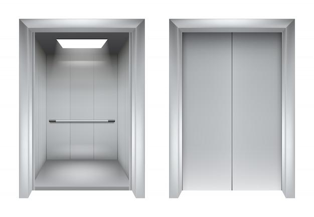 Двери лифта. закрытие и открытие лифта металлик в офисном здании реалистичные 3d картинки