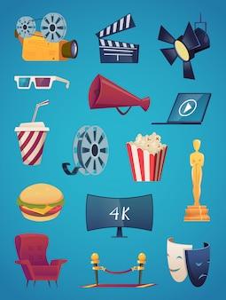 Коллекция иконок кино. кинотеатр развлечения анимационные картинки видео клуб попкорн 3d очки камера попкорн векторные иллюстрации