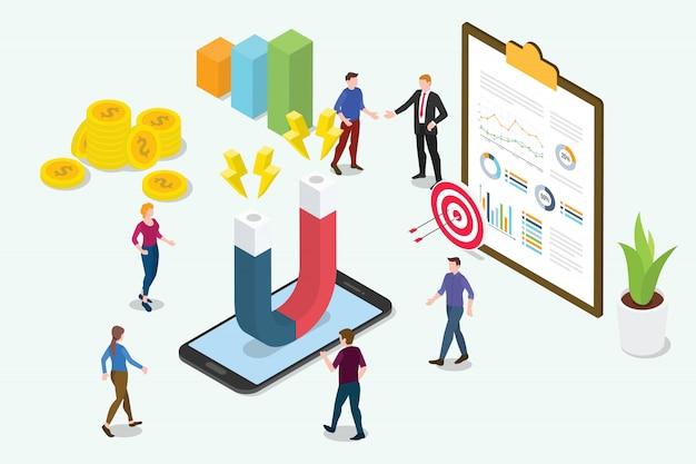 Изометрическая 3d концепция удержания клиентов маркетинга