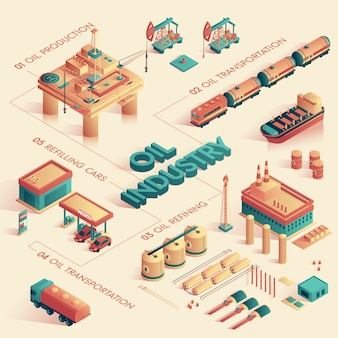 Векторная иллюстрация нефтяной промышленности изометрическая 3d.