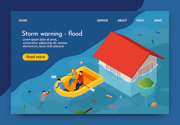 フラットバナーは書かれた嵐の警告洪水3dです。
