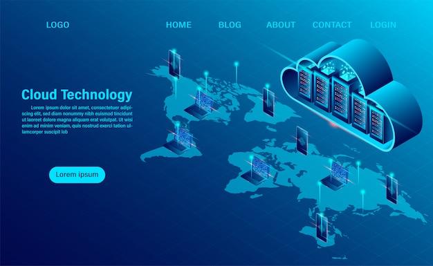 Целевая страница с концепцией облачных вычислений. интернет вычислительные технологии. концепция обработки большого потока данных, 3d-серверы и датацентр. изометрические плоский дизайн
