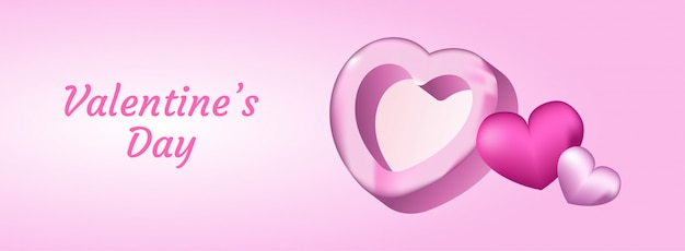 С днем святого валентина с реалистичной 3d иллюстрации сердца.