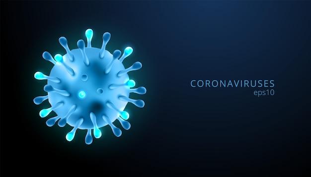 Коронавирусы 3d реалистичные вектор в темно-синем фоне. коронирусная клетка, болезнь ухань.