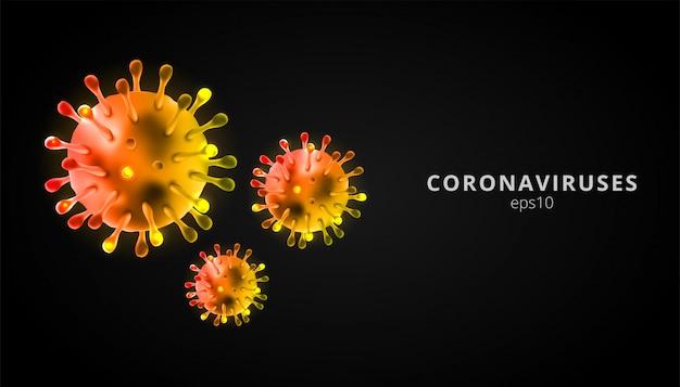 Коронавирусы 3d реалистичные вектор в черном фоне. коронирусная клетка, болезнь ухань.