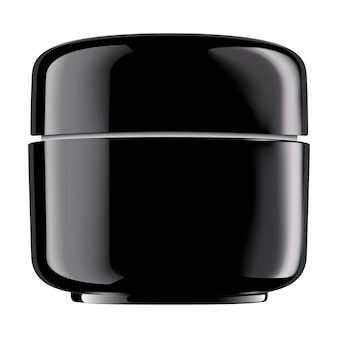 Круглый черный глянцевый пластиковый контейнер для косметических продуктов: пудра, крем, лосьон, скраб, масло, продукт, жидкость. пустой вектор 3d изолировал