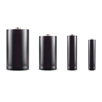 Черный щелочной аккумулятор макет набора. 3d реалистичный