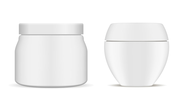 Набор белой косметической банки. 3d реалистичный контейнер.