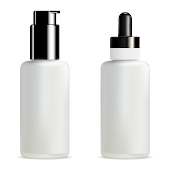 空白の血清とファンデーションスポイトボトル。ポンプジャー3d