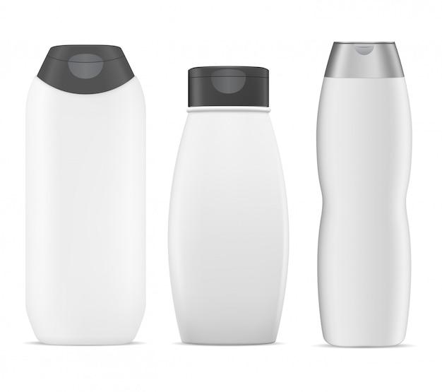 シャンプーボトル。白いプラスチックパッケージ。 3d