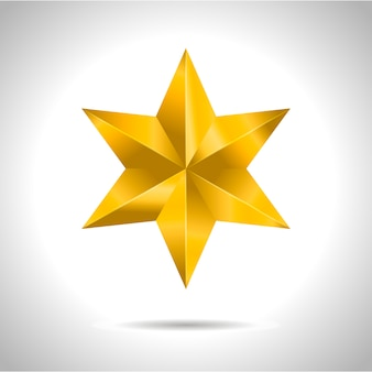 Звезда реалистично металлик золотой изолированный желтый 3d рождество
