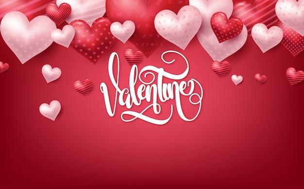 Розовый день святого валентина фон с 3d сердца на красном
