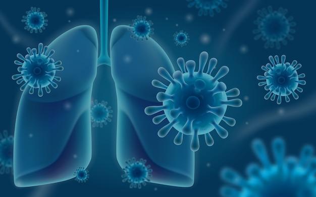 Коронавирус атакует легкие человека. респираторная инфекция, вызывающая пневмонию и заболевание легких. иллюстрация в реалистическом стиле 3d.