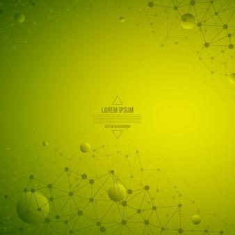 Абстрактные 3d вектор технологии зеленый фон. каркасная конструкция
